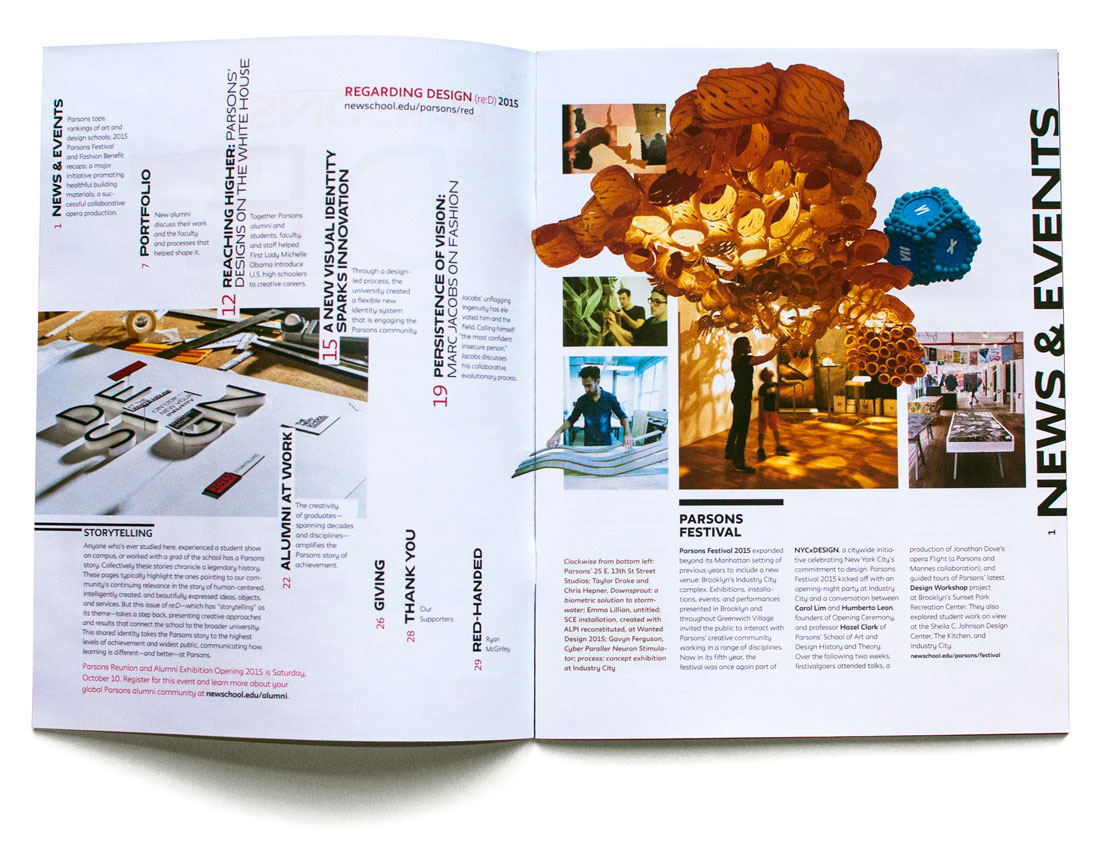 Parsons reD Magazine table of contents