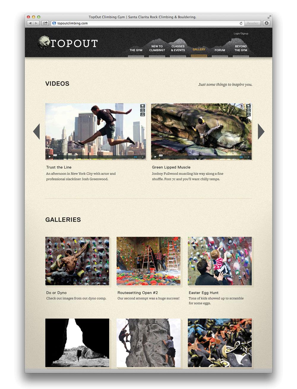 climbing video album webpage
