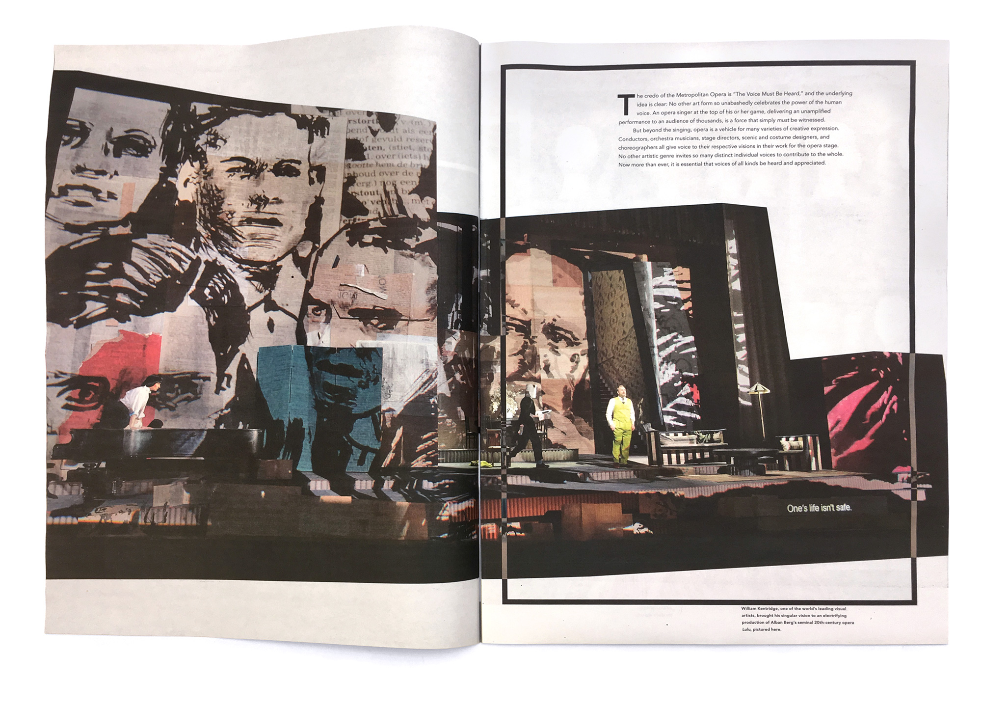 A spread from the recruitment piece for Met Opera showing a man on stage with the William Kentridge set design