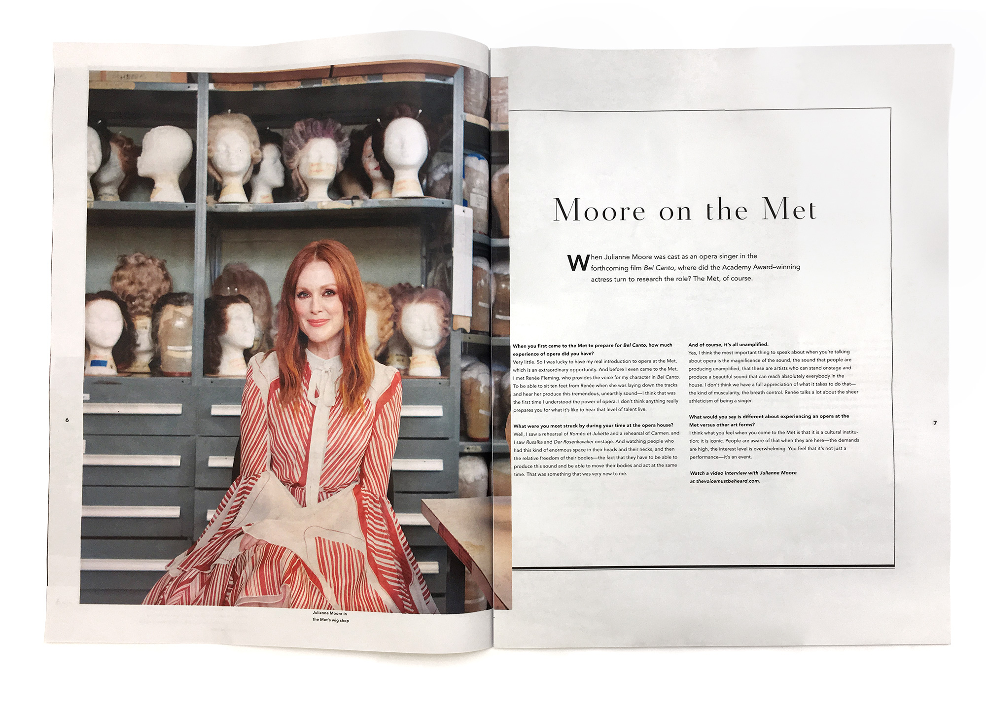 A spread from the recruitment piece for Met Opera featuring Julianne Moore in front of wigs